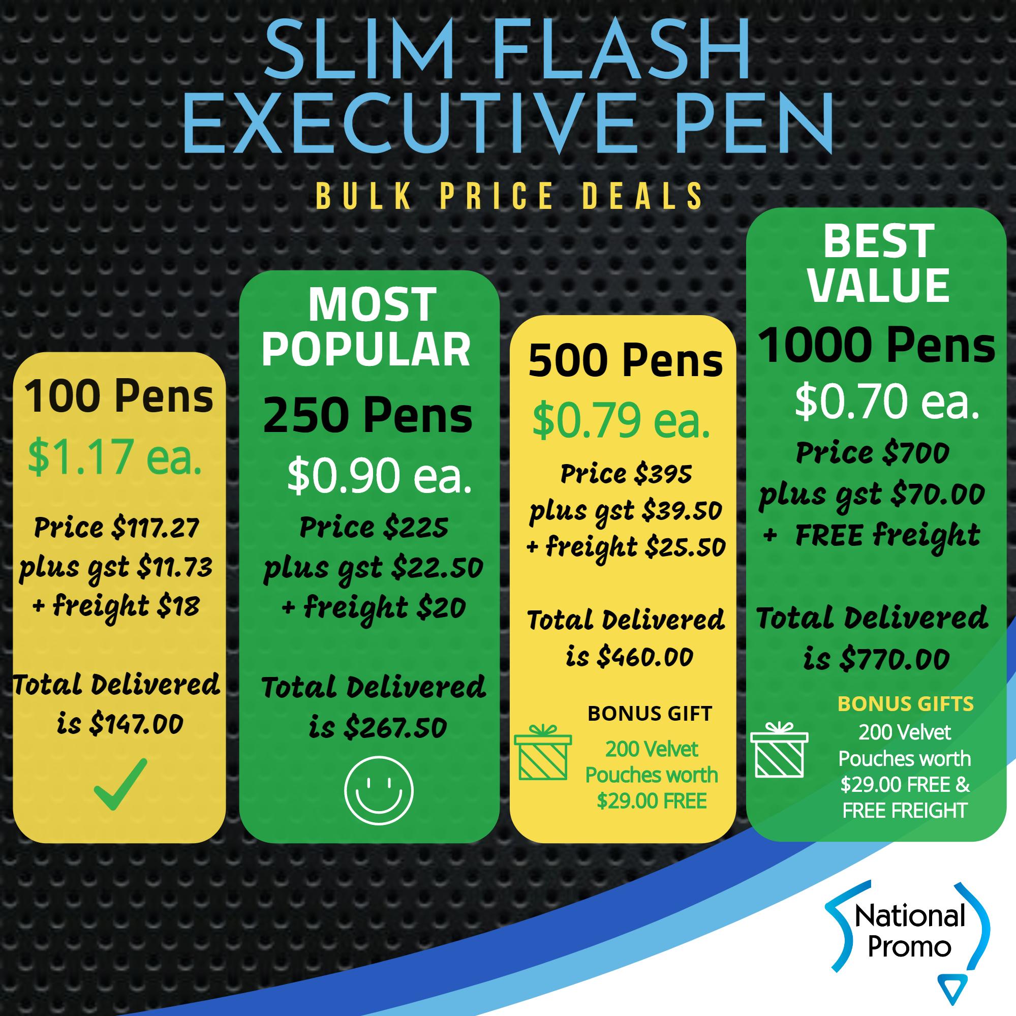 500 Metal Slim Flash Pens for $395*