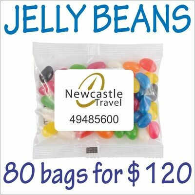 BRANDED 50gm JELLY BEANS PACKS. 80 bags for $120 - FREE DELIVERY