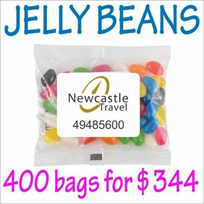 BRANDED 50gm JELLY BEANS PACKS. 400 bags for $344 - FREE DELIVERY