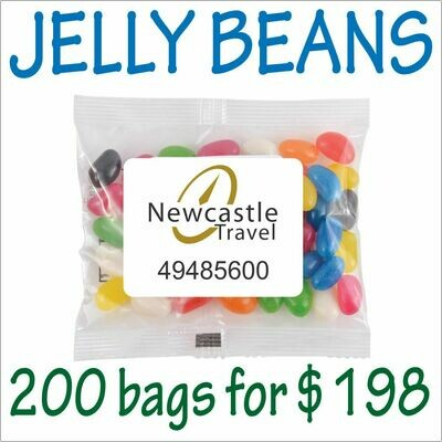 BRANDED 50gm JELLY BEANS PACKS. 200 bags for $198 - FREE DELIVERY