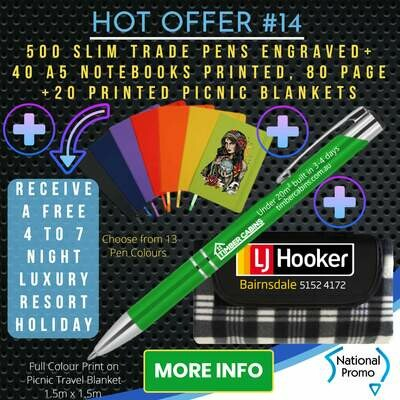 500 SLIM TRADE PENS + 20 PICNIC BLANKETS + 40 A5 NOTEBOOKS + get a FREE HOLIDAY