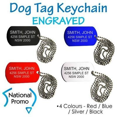 Metal Dog Tag Keychain