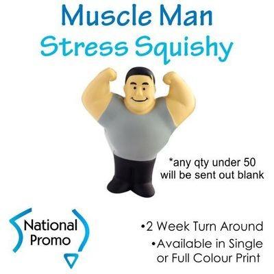 Full Colour Print Muscle Man Stress Squishy