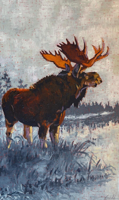 Moose 2020, 24x40, oil on canvas
