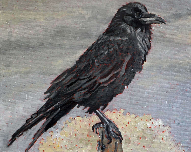 Raven 1, oil on canvas, 16x20