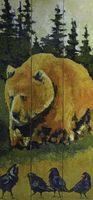 Bear Going Fishing, 36x60, SOLD