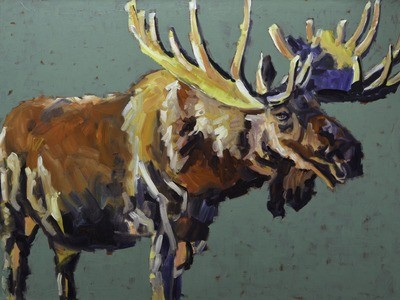 Teal Moose, 36x48, 2016 SOLD