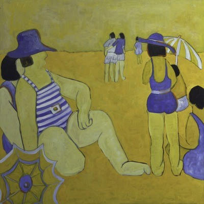 Sun Bathers by the Coast, 36x36, 2018