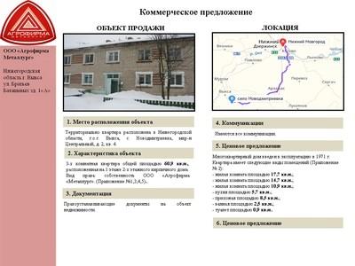 Объект недвижимости - г. Выкса Новодмитриевка Центральный 2-4(квартира)
