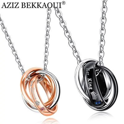 78a24529d4 Her King & His Queen Couple Stainless Steel Triple Circle Necklace