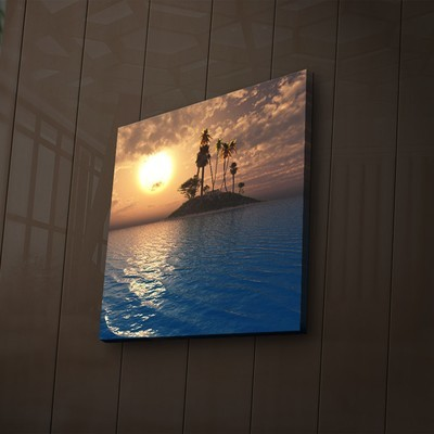 Blue Water Sunset Canvas with LED Back Lighting