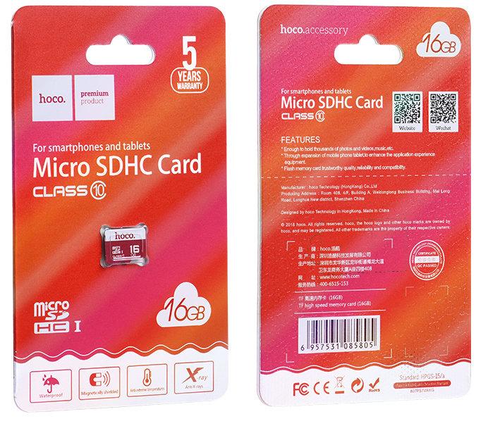 Карта памяти (MICROSD) 16GB 10CLASS HOCO [085805] (RED)