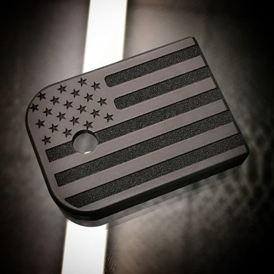 Titanium Mag Plate: American Flag BLACKOUT - BLK Cerakoted