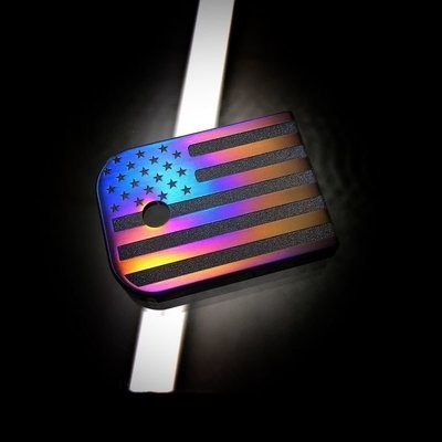 Titanium Mag Plate - American Flag Flame Anodized