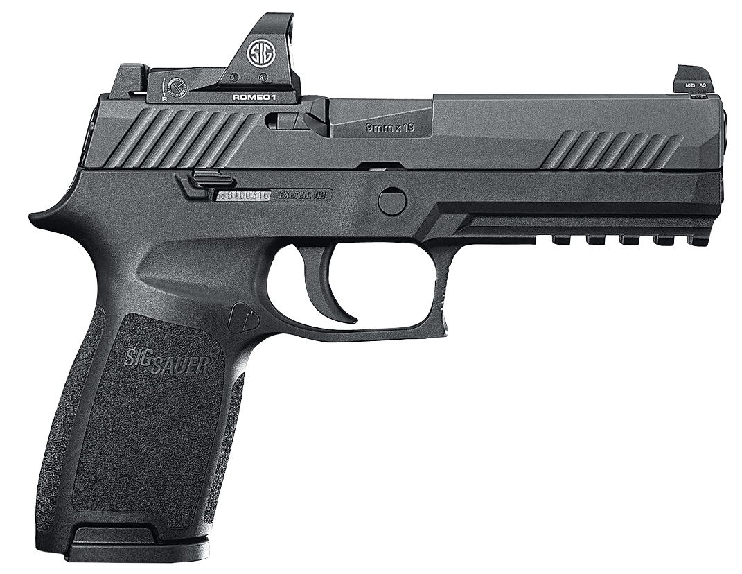 """80% Sig Sauer - P320 Full Size RX Double 9mm Luger 4.7"""" 17+1 - 2 Mags - Black Polymer Grip - Black Nitron Stainless Steel"""