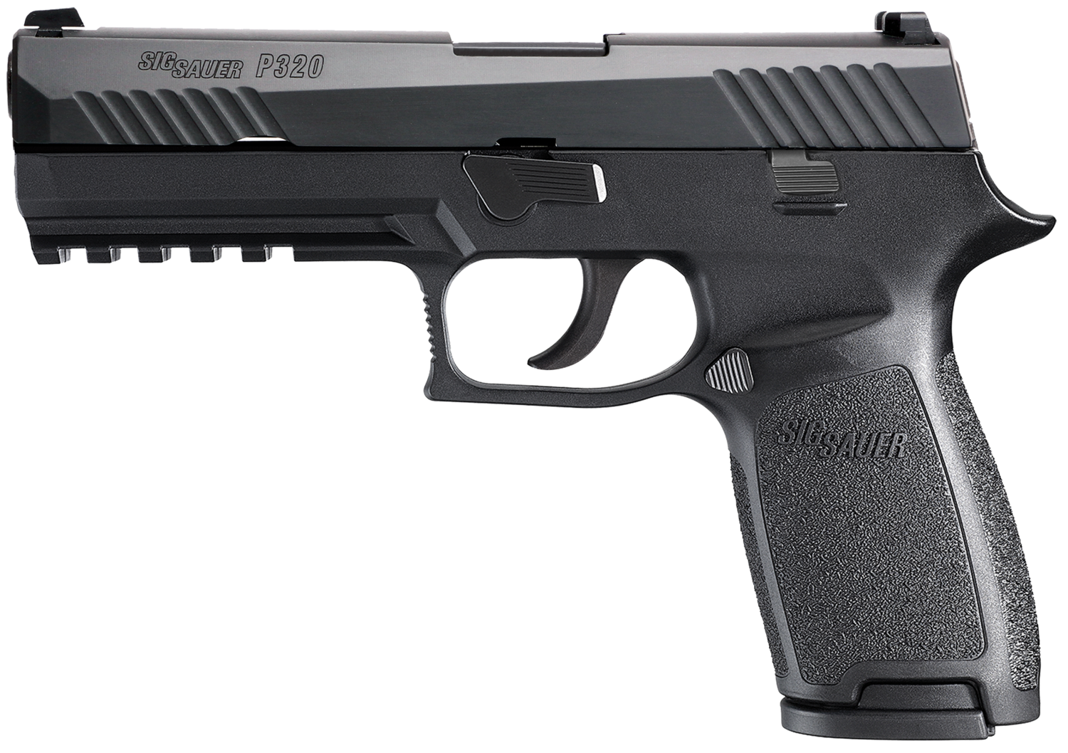 """80% Sig Sauer - P320 Full Size Double 9mm Luger 4.7"""" 17+1 2 Mags - Black Polymer Grip/Frame Grip - Black Nitron Stainless Steel"""