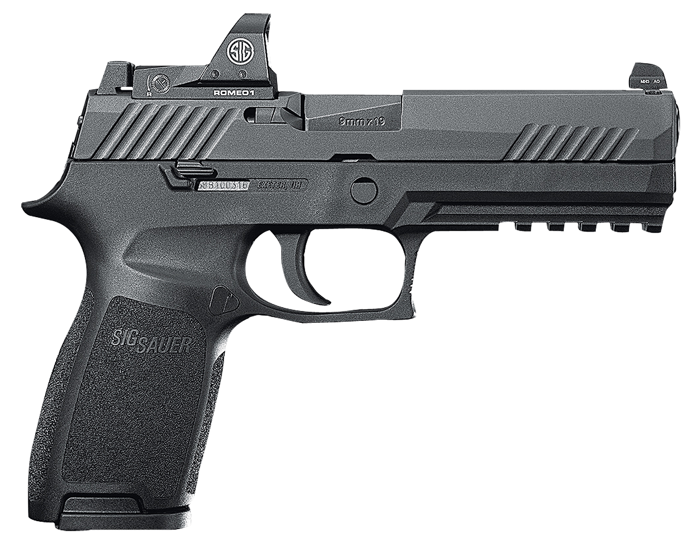 """80% Sig Sauer - P320 Full Size RX Double 9mm Luger 4.7"""" 10+1 - 2 Mags - Black Polymer Grip - Black Nitron Stainless Steel"""
