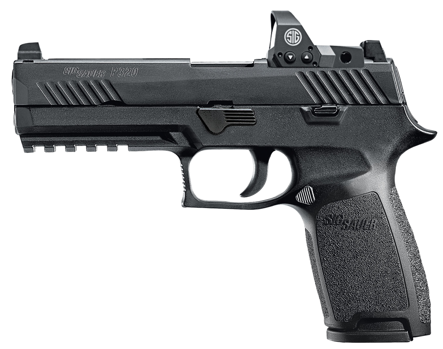 """80% Sig Sauer - P320 Full Size RX Double 9mm Luger 4.7"""" 17+1 - 2 Mags - Romeo1 - Black Polymer Grip/Frame - Black Nitron Stainless Steel"""
