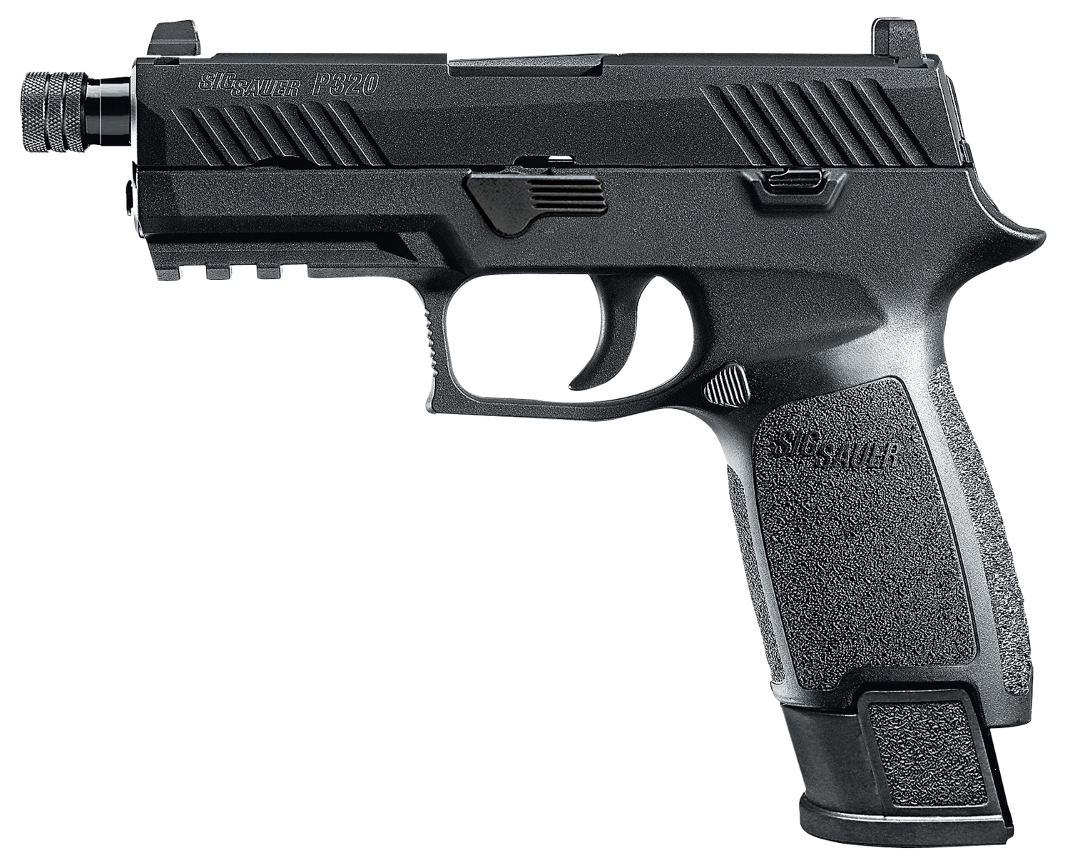 """Sig Sauer - P320 Carry TACOPS Double 9mm Luger 4.6"""" TB 21+1 - Black Polymer Grip/Frame Grip - Nitron Stainless Steel"""