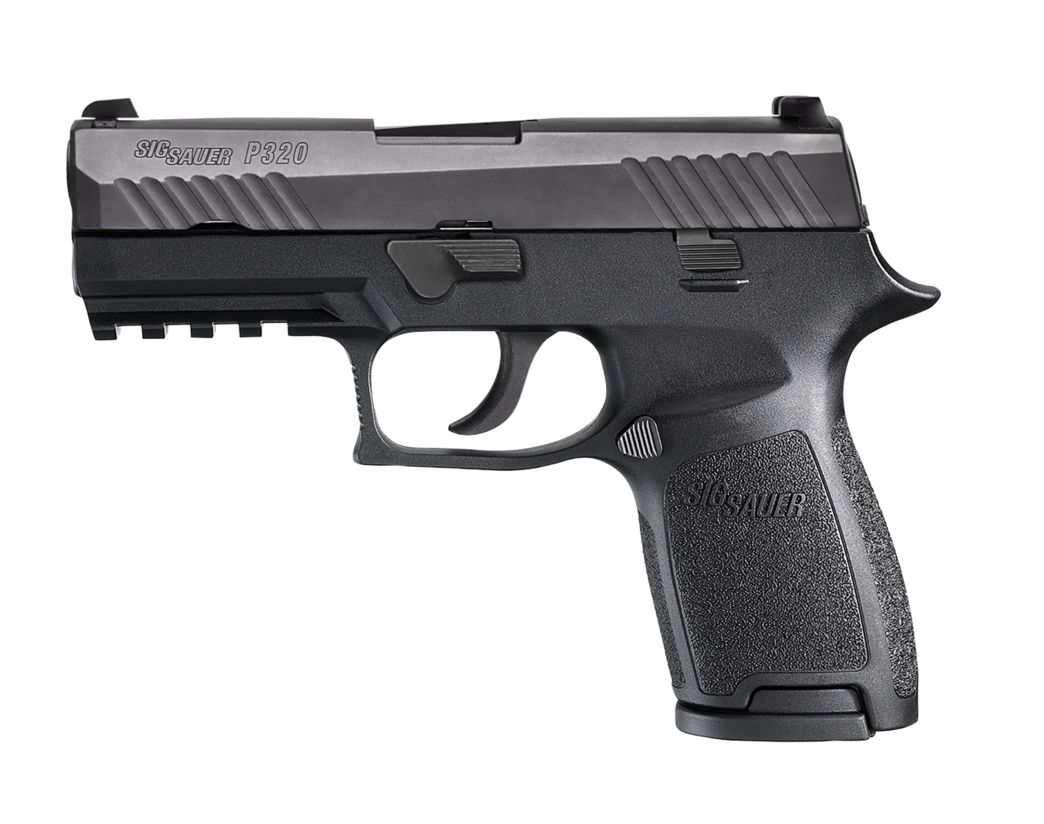 "80% Sig Sauer - P320 Compact Double 45 Automatic Colt Pistol (ACP) 3.9"" 9+1 - 2 Mags - Black Polymer Grip/Frame - Black Nitron Stainless Steel"