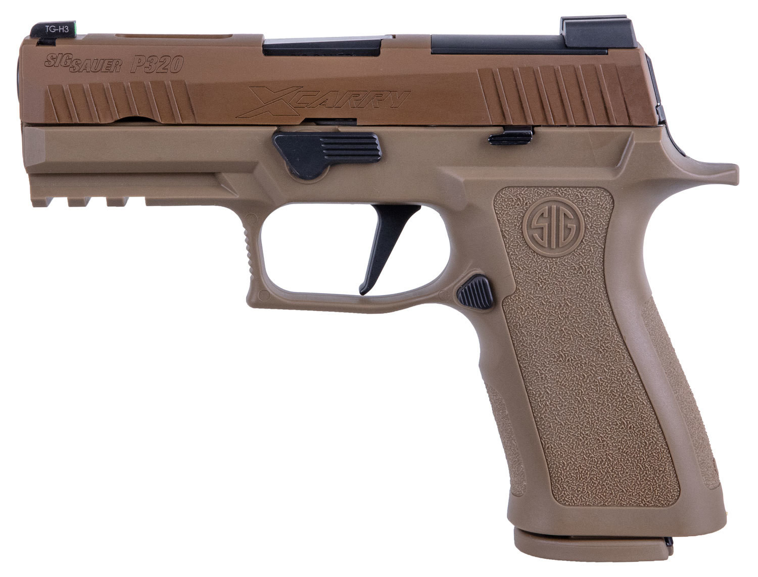 """80% Sig Sauer - P320 X-Carry 9mm Luger Double 3.9"""" 17+1 - 2 Mags - Coyote Polymer Grip/Frame Black Nitron Stainless Steel Slide"""