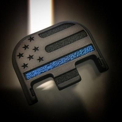 Black Cerakoted Titanium American Flag BLACK-OUT Thin Blue Line