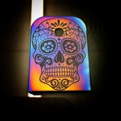 Sugar Skull Flame Anodized - Titanium Mag Plate