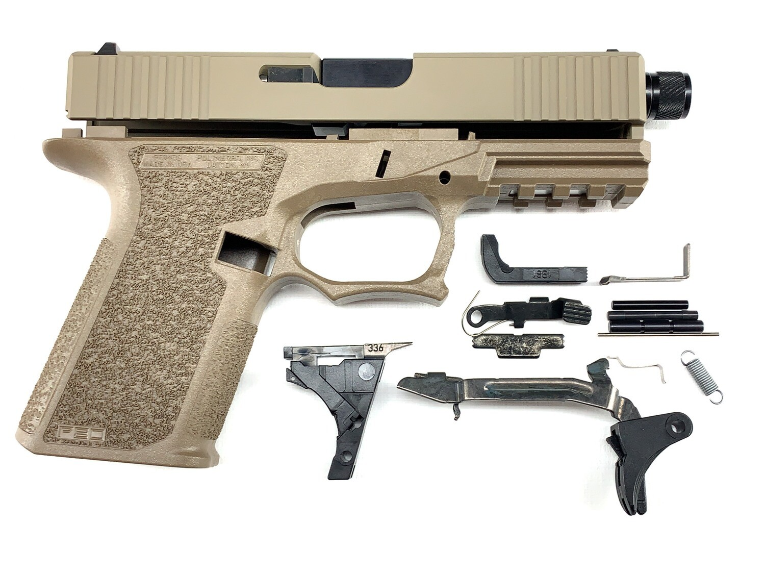 Patriot G19 80% Pistol Build Kit With Threaded 9mm Barrel - Polymer80 PF940C - FDE
