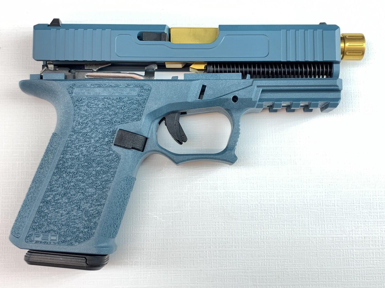 Patriot G19 80% Pistol Build Kit Threaded Gold Tin 9mm Barrel - Polymer80 PF940C - Jesse James Blue - Magpul 10rd Magazine 1