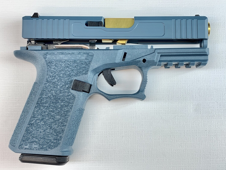 Patriot G19 80% Pistol Build Kit Gold Tin 9mm Barrel - Polymer80 PF940C - Jesse James Blue - 10rd Mag