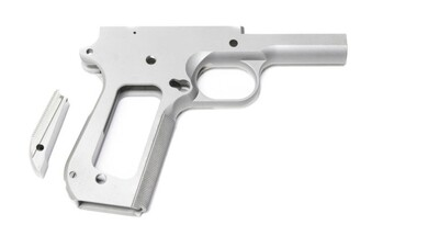 80% 1911 45 ACP Full Size Government 416R Stainless Steel Bobtail Cut Frame With Checkered Grip And Bobtailed MainSpring