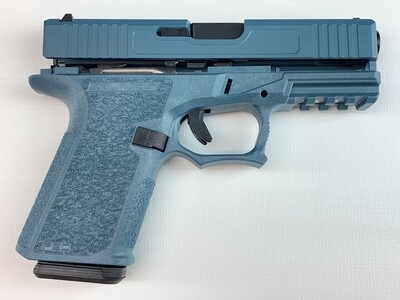 Patriot G19 80% Pistol Build Kit Black Nitride 9mm Barrel - Polymer80 PF940C - Jesse James Blue - 10rd Mag