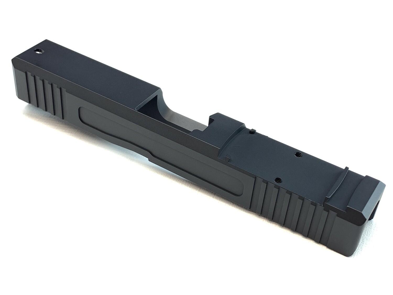 Glock 19 Slide w/ Front & Rear Serrations - Recessed Windows - RMR - BLACK