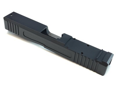 Glock 19 Slide w/ Front & Rear Serrations - Recessed Windows - RMR - BLACK