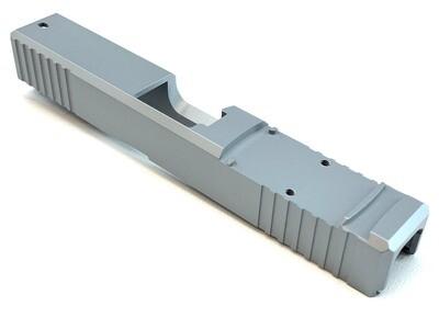Glock 19 Slide w/ Front & Rear Serrations - Recessed Windows - RMR - Silver