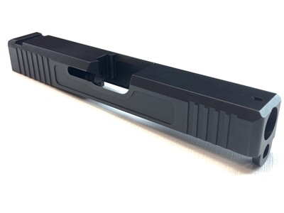 Glock 19 Slide w/ Front & Rear Serrations - Recessed Windows - BLACK