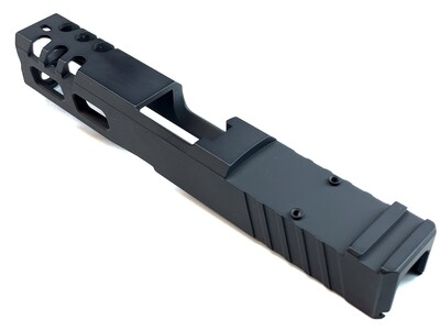 Custom Glock 19 Compact 9mm Stainless Steel Slide - Rear Serrations - Windowed - Trijicon RMR Cut - Pick Your Color