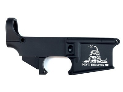 AR-15 80% Don't Tread On Me Lower Receiver - Black Anodized Forged 5.56/.223
