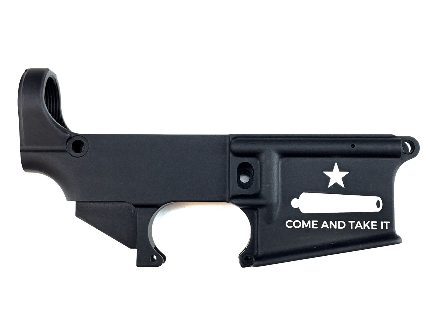 "AR-15 80% Gonzales Flag ""Come And Take It"" Lower Receiver - Black Anodized Forged 5.56/.223"