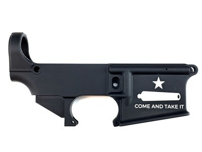 AR-15 80% Gonzales Flag Come And Take It Lower Receiver - Black Anodized Forged 5.56/.223