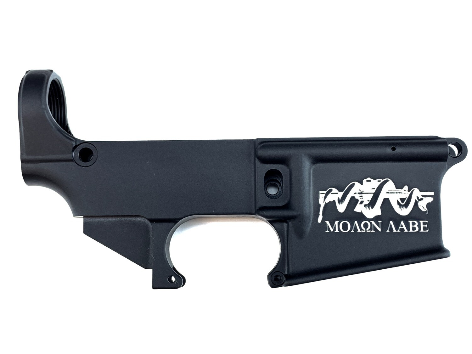 "AR-15 80% ""Molon Labe Snake"" Lower Receiver - Black Anodized Forged 5.56/.223"