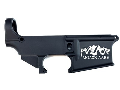 AR-15 80% Molon Labe Snake Lower Receiver - Black Anodized Forged 5.56/.223