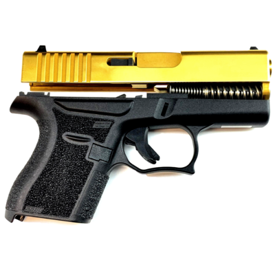 80% Glock 43 Subcompact Full Pistol Build Kit - Tin Gold / Black