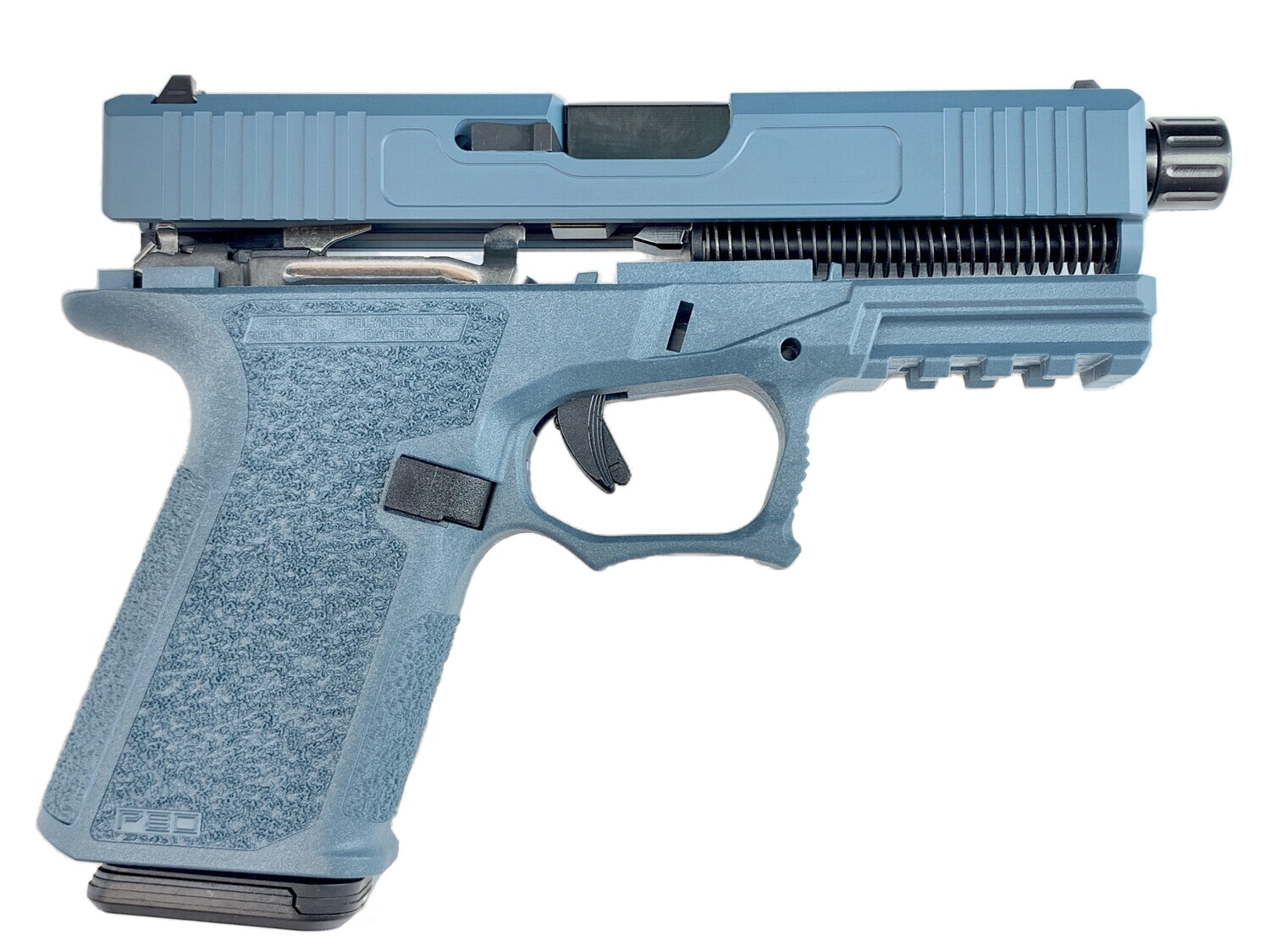 Patriot G19 80% Pistol Build Kit Threaded Black DLC 9mm Barrel - Polymer80 PF940C - Jesse James Blue - 10rd Mag