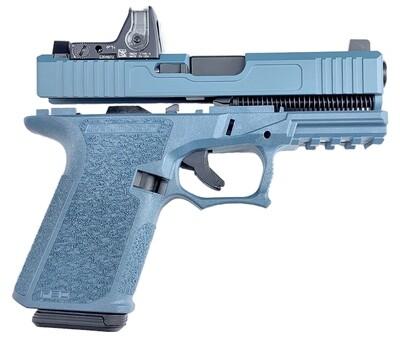 Patriot G19 80% Pistol Build Kit Black Nitride 9mm Barrel - Trijicon Red Dot - AmeriGlo Sights - Polymer80 PF940C - Jesse James Blue - 10rd Mag