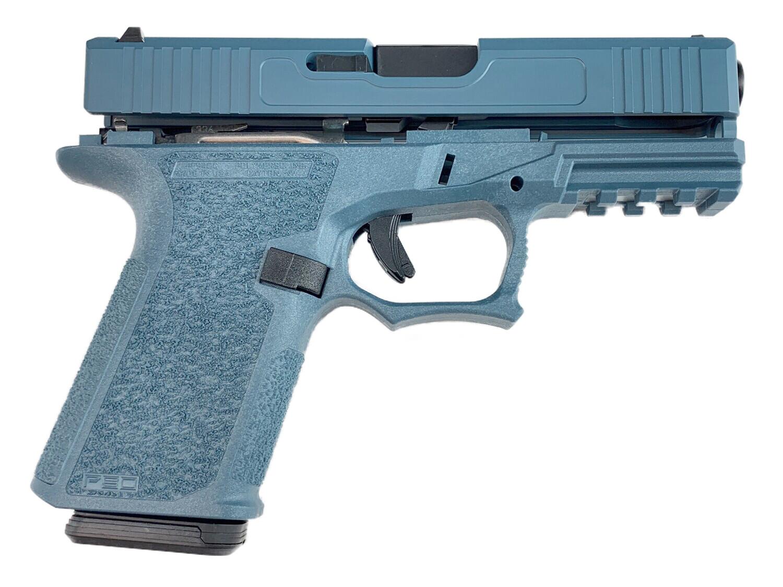 Patriot G19 80% Pistol Build Kit Black Nitride 9mm Barrel - Polymer80 PF940C - Jesse James Blue - 10rd Mag