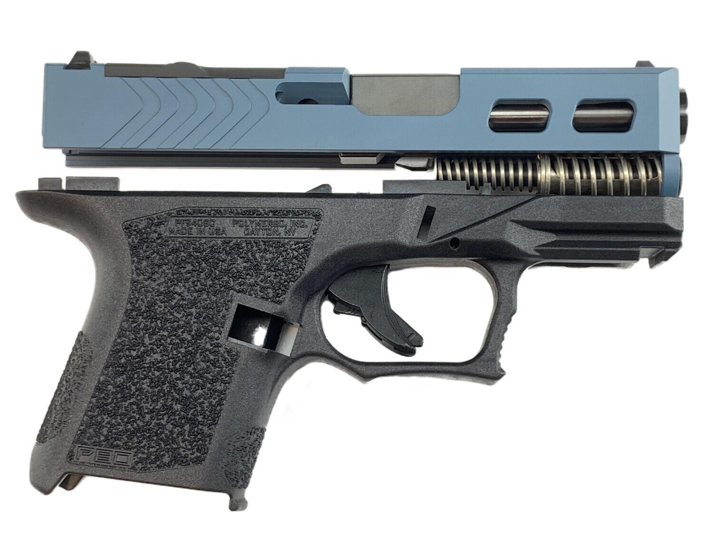 80% Glock 26 9mm Subcompact Windowed Slide, RMR - RMR Cover - Black Barrel - Pistol Build Kit - Jesse James Blue
