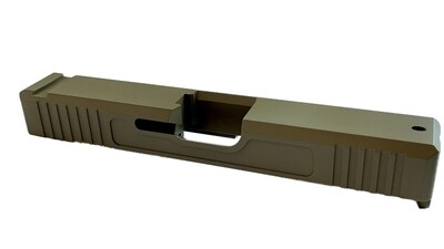 Glock 19 Slide w/ Front & Rear Serrations - Recessed Windows - FDE