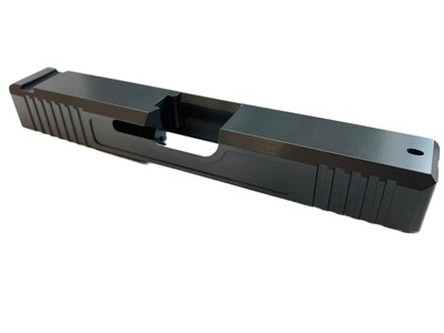 Glock 19 Slide w/ Front & Rear Serrations - Recessed Windows - Titanium Gray