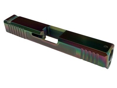 Glock 19 Slide w/ Front & Rear Serrations - Recessed Windows - Chameleon (Rainbow) PVD
